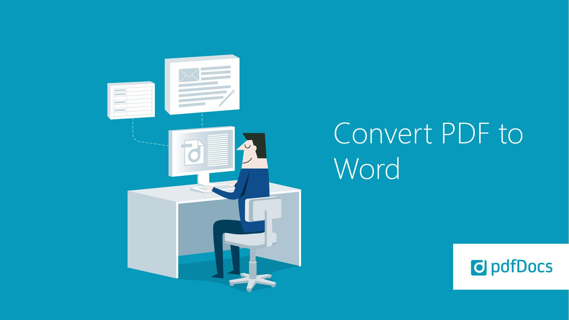 How to convert to Word from PDF in pdfDocs
